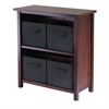 Winsome Wood Verona 2-Section M Storage Shelf With 4 Foldable Black Fabric Baskets, 28 x 13 x 30, Walnut / Black