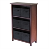 Winsome Wood Verona 3-Section M Storage Shelf With 6 Foldable Black Color Fabric Baskets, 28 x 13 x 43, Walnut / Black