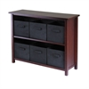 Winsome Wood Verona 2-Section W Storage Shelf With 6 Foldable Black Fabric Baskets, 39 x 13 x 30, Walnut / Black