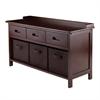 Winsome Wood Adriana 4-Pc Storage Bench Set With 3 Foldable Chocolate Fabric Baskets, 38.27 x 14.17 x 21.85, Antique Walnut