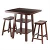 Winsome Wood Orlando 3-Pc Set High Table, 2 Shelves W/ 2 Saddle Seat Stools