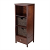 Winsome Wood 3-Pc Brooke Jelly Cupboard With 2 Baskets, 17.32 x 15.75 x 47.44, Antique Walnut