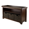 Winsome Wood Granville Storage Bench With 3 Foldable Baskets, 40 x 14.2 x 22, Walnut / Chocolate