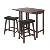 Winsome Wood 3-Pc Lynnwood Drop Leaf Kitchen Table With 2 Cushion Saddle Seat Stools, 39.37 x 30 x 35.43, Antique Walnut