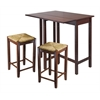 Winsome Wood Lynwood 3-Pc Drop Leaf Table With Rush Seat Stool