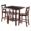 Winsome Wood Orlando 3-Pc Set High Table, 2 Shelves W/ 2 V-Back Counter Stools