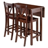 Winsome Wood Lynnwood 3-Pc Drop Leaf Table With 2 Counter V-Back Stools