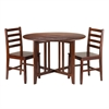 Winsome Wood Alamo 3-Pc Round Drop Leaf Table With 2 Hamilton Ladder Back Chairs