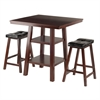 Winsome Wood Orlando 3-Pc Set High Table, 2 Shelves W/ 2 Cushion Seat Stools