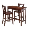 Winsome Wood Sally 3-Pc Breakfast Table Set With 2 V-Back Stool, 39.37 x 19.69 x 33.27, Walnut