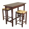 Winsome Wood 3-Pc Kitchen Island Table With 2 Rush Seat Stools; 2 Cartons