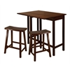 "Winsome Wood Lynnwood 3-Pc High Drop Leaf Table With 24"" Saddle Seat Stool, 39.37 x 30 x 35.43, Antique Walnut"