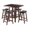 Winsome Wood Orlando 3-Pc Set High Table, 2 Shelves W/ 4 Cushion Seat Stools
