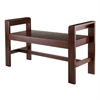 Winsome Wood Thomas Bench With Armrest, 39.84 x 16.14 x 23.43, Walnut