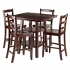 Winsome Wood Orlando 5-Pc Set High Table, 2 Shelves W/ 4 Ladder Back Stools