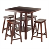 Winsome Wood Orlando 5-Pc Set High Table, 2 Shelves W/ 4 Saddle Seat Stools