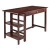 Winsome Wood Velda Writing Desk With 2 Shelves, 50.08 x 24.25 x 30.55, Antique Walnut