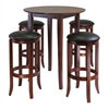 Winsome Wood Fiona Round 5Pc High/Pub Table Set With Pvc Stools, 33.66 x 33.66 x 38.98, Antique Walnut