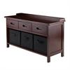 Winsome Wood Adriana 4Pc Storage Bench Set With 3 Foldable Black Fabric Baskets, 38.27 x 14.17 x 21.85, Antique Walnut