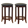 "Winsome Wood Walcott 2-Pc 24"" Swivel Seat Counter Stool Set, 16.97 x 16.97 x 24.33, Antique Walnut"
