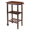 Winsome Wood Stevenson Kitchen Cart With 2 Wood Wheels, 24.41 x 15.75 x 36.02, Antique Walnut