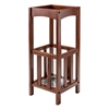 Winsome Wood Rex Umbrella Stand With Metal Tray, 10.87 x 10.87 x 26.77, Walnut