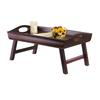 Winsome Wood Sedona Bed Tray Curved Side, Foldable Legs, Large Handle, 23.62 x 14.3 x 10.98, Antique Walnut