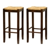 "Winsome Wood Kaden 2-Pc 29"" Rush Seat Counter Stool Set, 13.5 x 13.5 x 28.5, Antique Walnut"