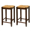 "Winsome Wood Kaden 2-Pc 24"" Rush Seat Counter Stool Set, 13.5 x 13.5 x 23.5, Antique Walnut"