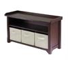 Winsome Wood Verona Storage Bench With 3 Foldable  Beige Color Fabric Baskets, 40 x 14.2 x 22, Walnut / Beige