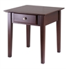 Winsome Wood Rochester End Table With One Drawer, Shaker, 20 x 20 x 20, Antique Walnut