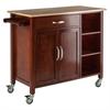 Winsome Wood Mabel Kitchen Cart Walnut/Natural, 42.72 x 18.9 x 35.43, Walnut / Natural