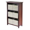 Winsome Wood Verona 3- Section M Storage Shelf With 6 Foldable Beige Color Fabric Baskets, 28 x 13 x 43, Walnut / Beige