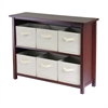 Winsome Wood Verona 2-Section W Storage Shelf With 6 Foldable Beige Fabric Baskets, 39 x 13 x 30, Walnut / Beige