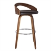"Sonia 26"" Barstool in Walnut Wood Finish with Brown Pu Upholstery"
