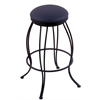 "Holland Bar Stool Co. 3000 Georgian 30"" Bar Stool with Black Wrinkle Finish, Allante Dark Blue Seat, and 360 swivel"