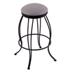 "Holland Bar Stool Co. 3000 Georgian 25"" Counter Stool with Black Wrinkle Finish, Allante Medium Grey Seat, and 360 swivel"