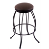"Holland Bar Stool Co. 3000 Georgian 30"" Bar Stool with Black Wrinkle Finish, Rein Coffee Seat, and 360 swivel"