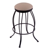 "Holland Bar Stool Co. 3000 Georgian 30"" Bar Stool with Black Wrinkle Finish, Rein Thatch Seat, and 360 swivel"