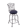 "3010 Aspen 30"" Bar Stool with Black Wrinkle Finish, Allante Dark Blue Seat, and 360 swivel"