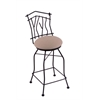 "Holland Bar Stool Co. 3010 Aspen 30"" Bar Stool with Black Wrinkle Finish, Rein Thatch Seat, and 360 swivel"
