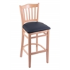 "Holland Bar Stool Co. 3120  25"" Stool with Natural Finish, Allante Dark Blue Seat"