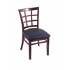 "Holland Bar Stool Co. 3130  18"" Chair with Dark Cherry Finish, Allante Dark Blue Seat"