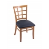 "Holland Bar Stool Co. 3130  18"" Chair with Medium Finish, Allante Dark Blue Seat"