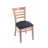 "3140 18"" Chair with Natural Finish, Allante Dark Blue Seat"