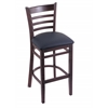 "Holland Bar Stool Co. 3140  25"" Stool with Dark Cherry Finish, Allante Dark Blue Seat"