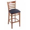 "3140 25"" Stool with Medium Finish, Allante Dark Blue Seat"