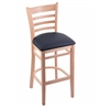 "Holland Bar Stool Co. 3140  25"" Stool with Natural Finish, Allante Dark Blue Seat"