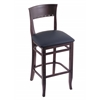 "Holland Bar Stool Co. 3160  25"" Stool with Dark Cherry Finish, Allante Dark Blue Seat"