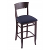 "3160 25"" Stool with Dark Cherry Finish, Axis Denim Seat"